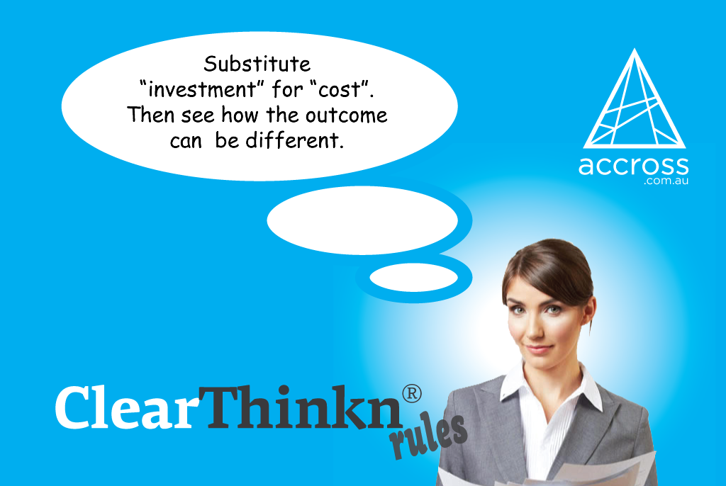 Business advice. Substitute investment for cost